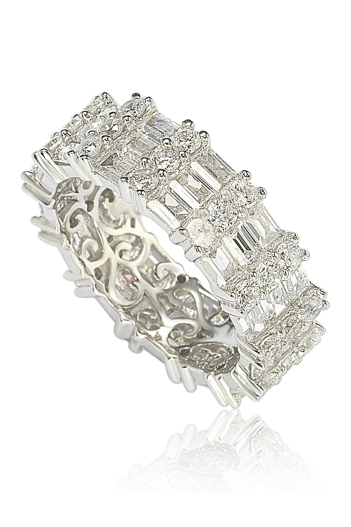 Image of Suzy Levian Sterling Silver Modern Tri-Row White Bagguette CZ Eternity Band