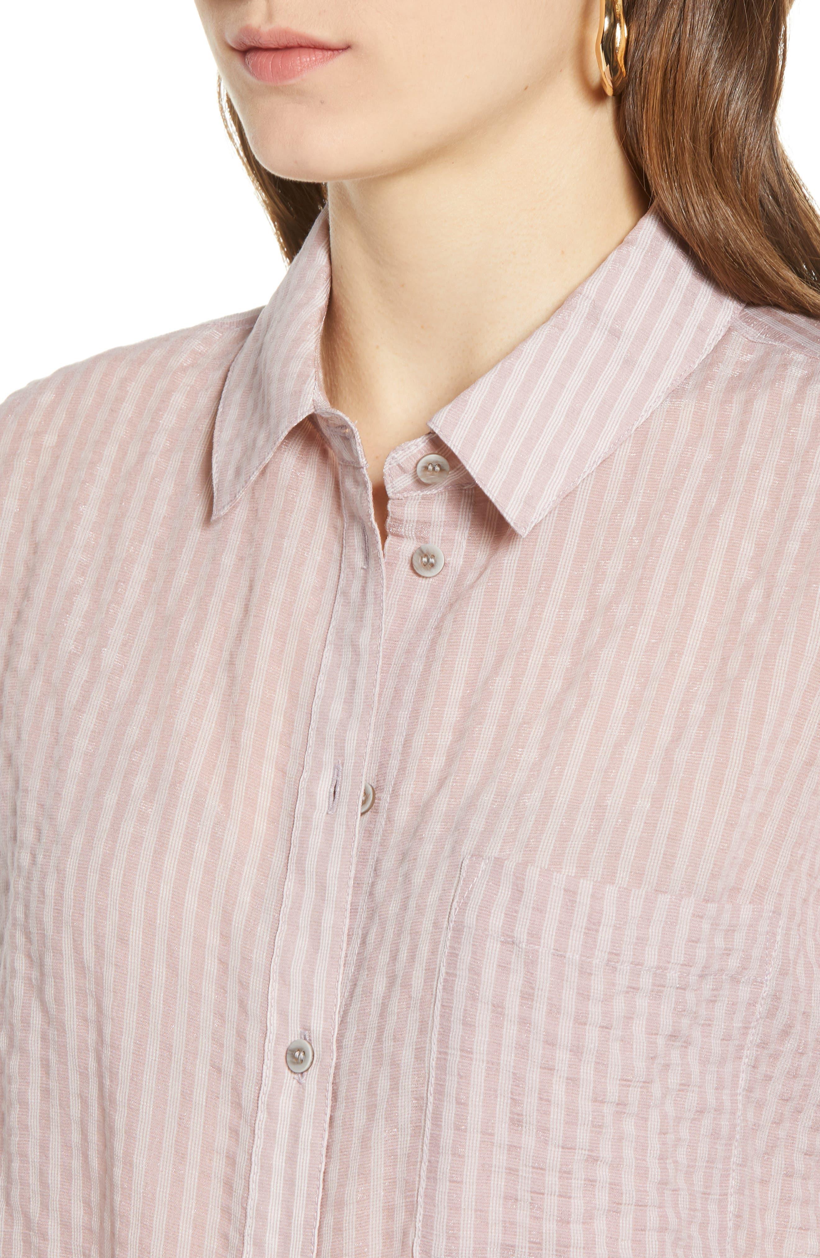 ,                             Stripe Short Sleeve Shirt,                             Alternate thumbnail 6, color,                             PINK CANYON CLOUD STRIPE
