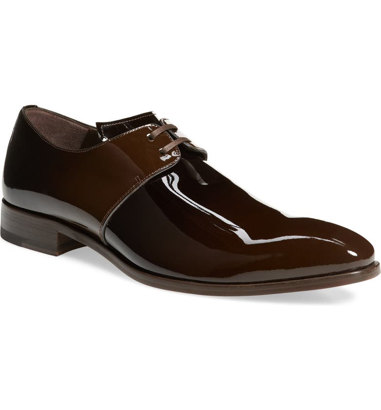 MEZLAN Chopin Plain Toe Derby, Main, color, BROWN PATENT LEATHER