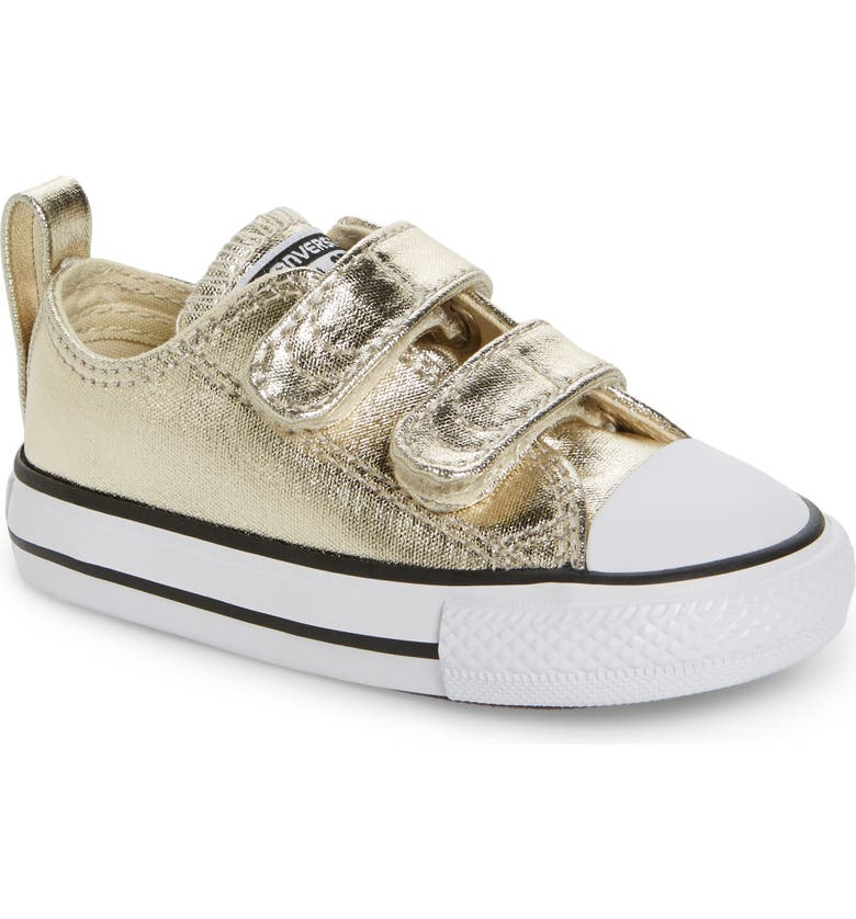 CONVERSE Chuck Taylor<sup>®</sup> All Star<sup>®</sup> 2V Metallic Low-Top Sneaker, Main, color, LIGHT GOLD