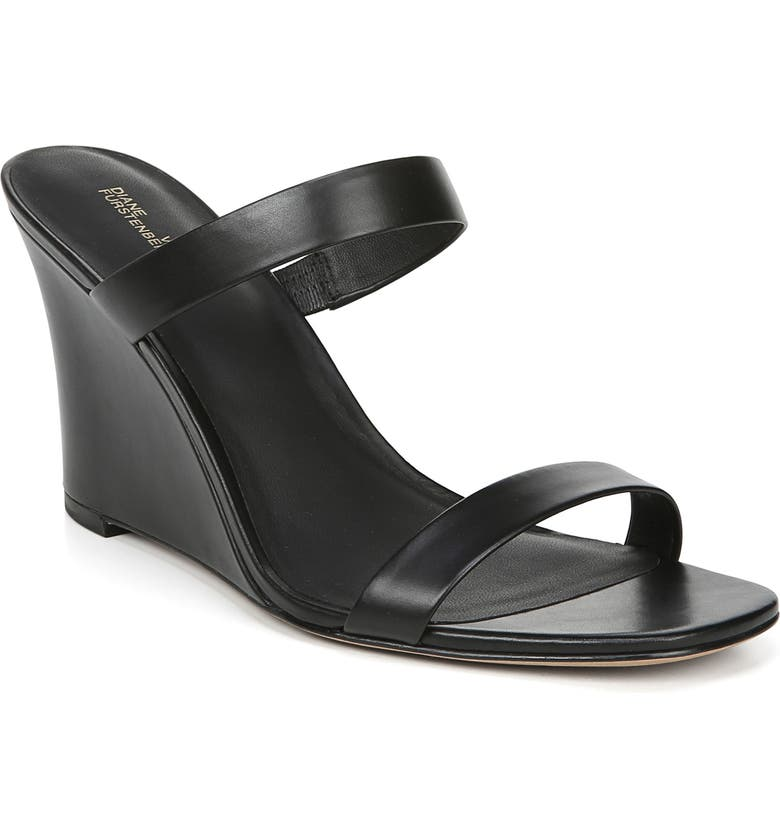 DIANE VON FURSTENBERG Vivienne Strappy Wedge Sandal, Main, color, BLACK
