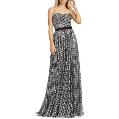 MAC Duggal A-Line Metallic Lattice Gown, Black