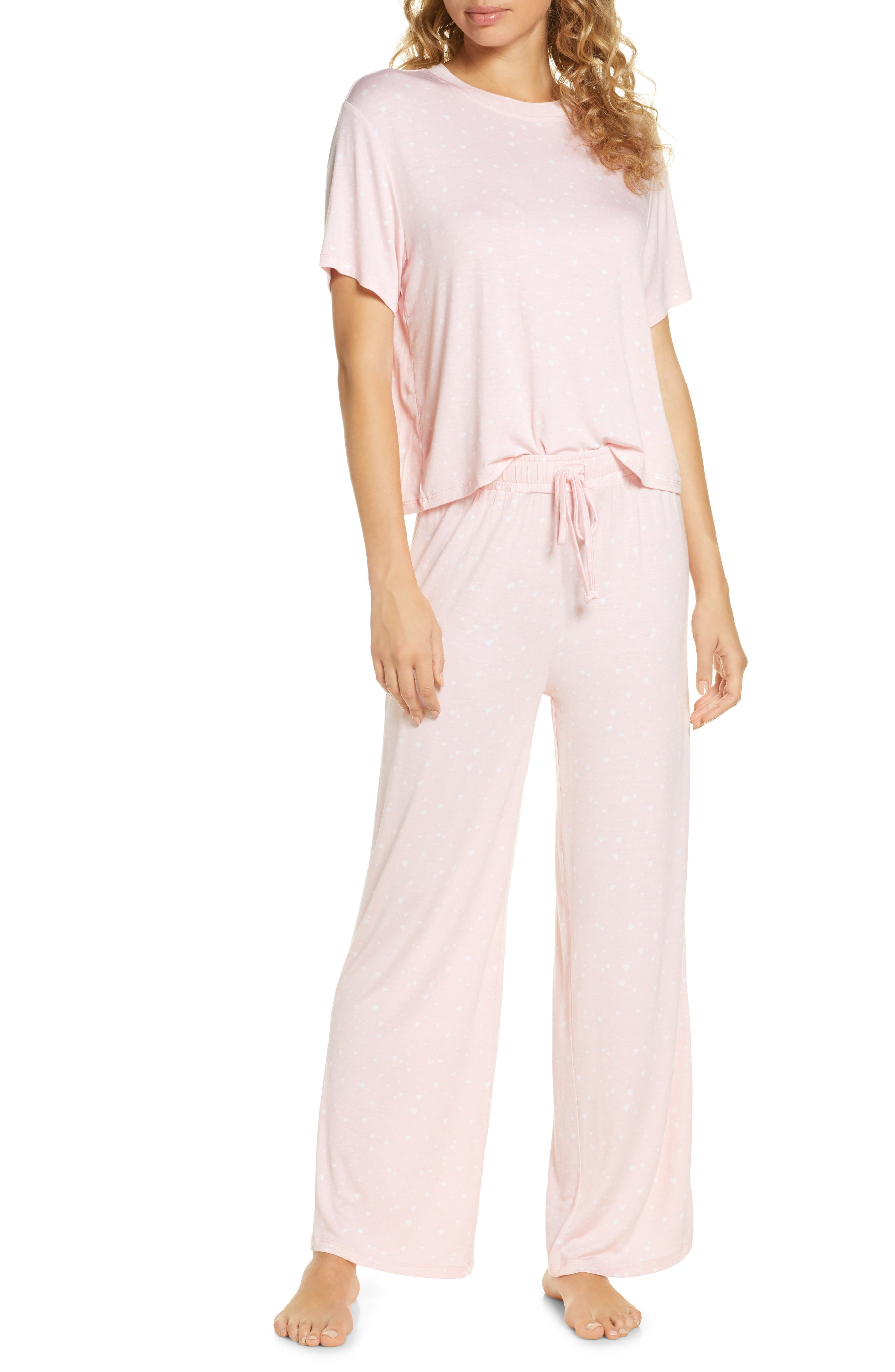 Short-sleeve pajamas in a blissfully soft knit you\\\'ll want to live in come in a choice of colors ands dream-worthy prints. Style Name: Honeydew Intimates All American Pajamas. Style Number: 5897930. Available in stores.