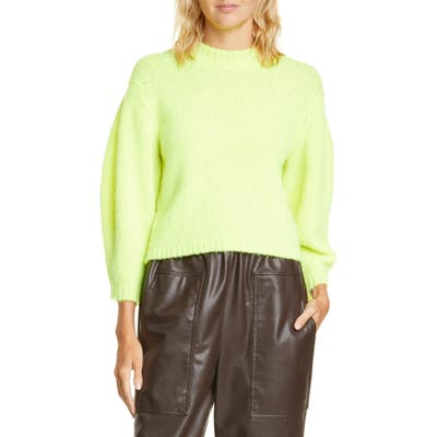 Tibi Cozette Alpaca & Wool Blend Crop Sweater, Yellow