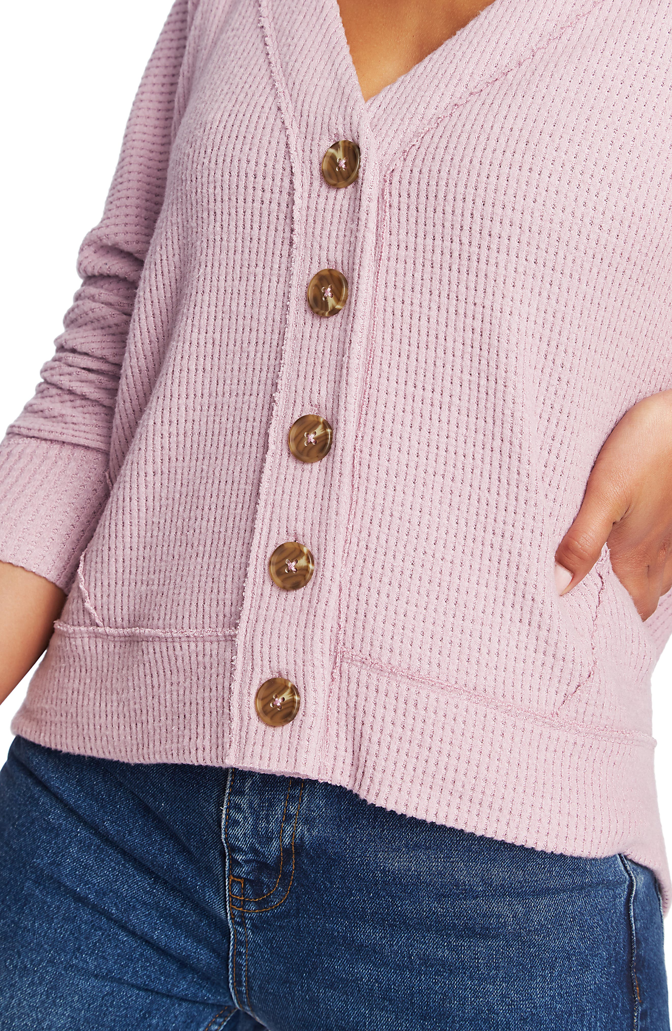 1.state Tops Button Front Crop Cardigan