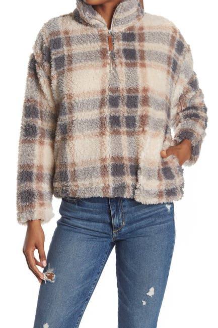 Image of THREAD AND SUPPLY Plaid 1/4 Zip Faux Shearling Jacket