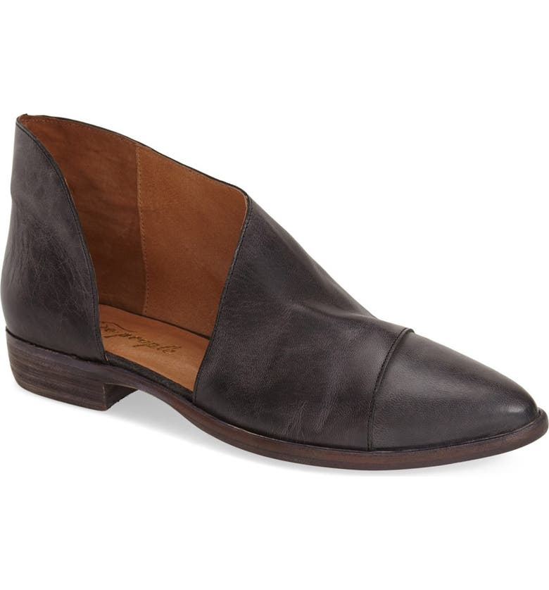 FREE PEOPLE Royale Asymmetrical Flat, Main, color, BLACK LEATHER
