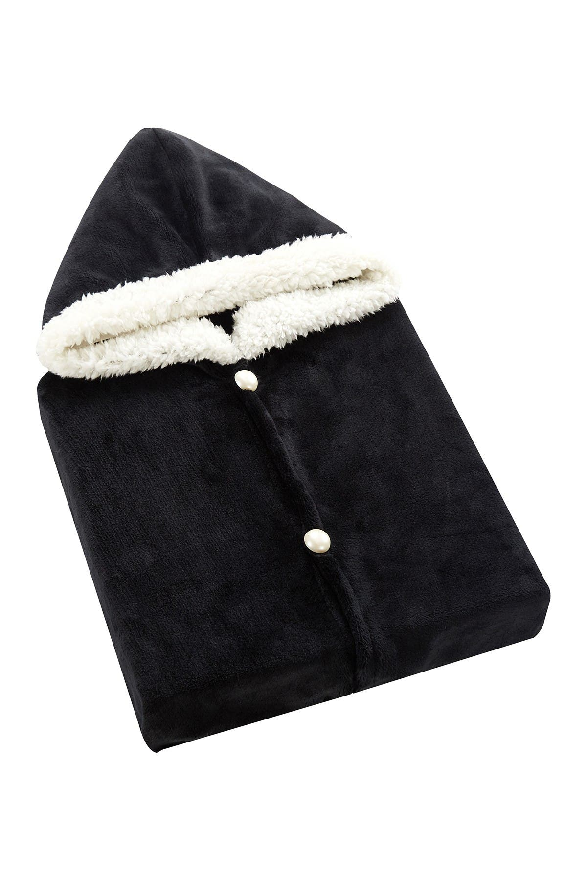 Image of Chic Home Bedding Aella Faux Shearling Trim Flannel Snuggle Hoodie - Black