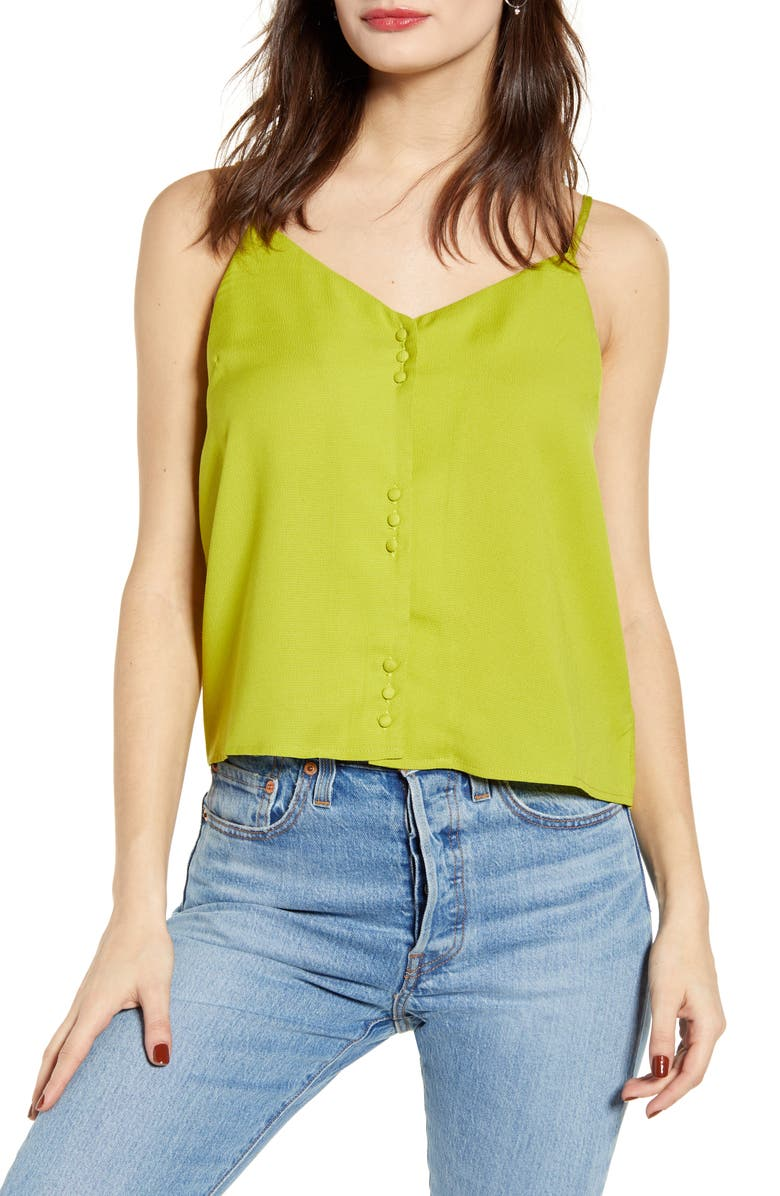 J.O.A. Button Front Camisole, Main, color, GREEN YELLOW