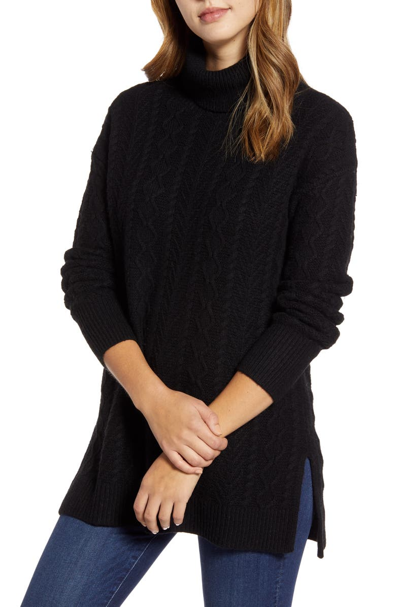 HALOGEN<SUP>®</SUP> Cable Turtleneck Tunic Sweater, Main, color, BLACK