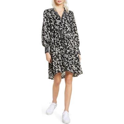 French Connection Bruna Floral Long Sleeve Dress, Black