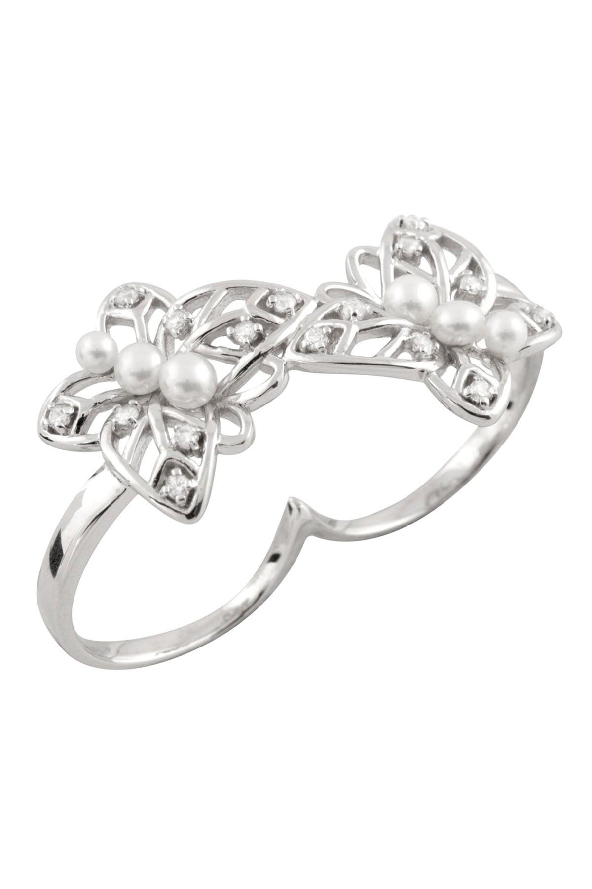Image of Splendid Pearls Leaf Freshwater Pearl Two Finger Ring - Size 7