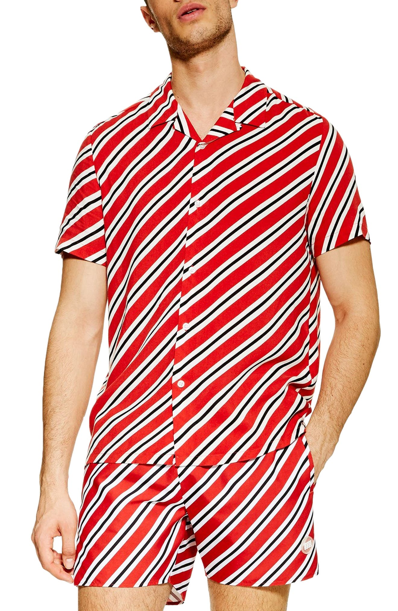 Vintage Men's Swimsuits – 1930s to 1970s History Mens Topman Diagonal Stripe Short Sleeve Shirt $26.98 AT vintagedancer.com