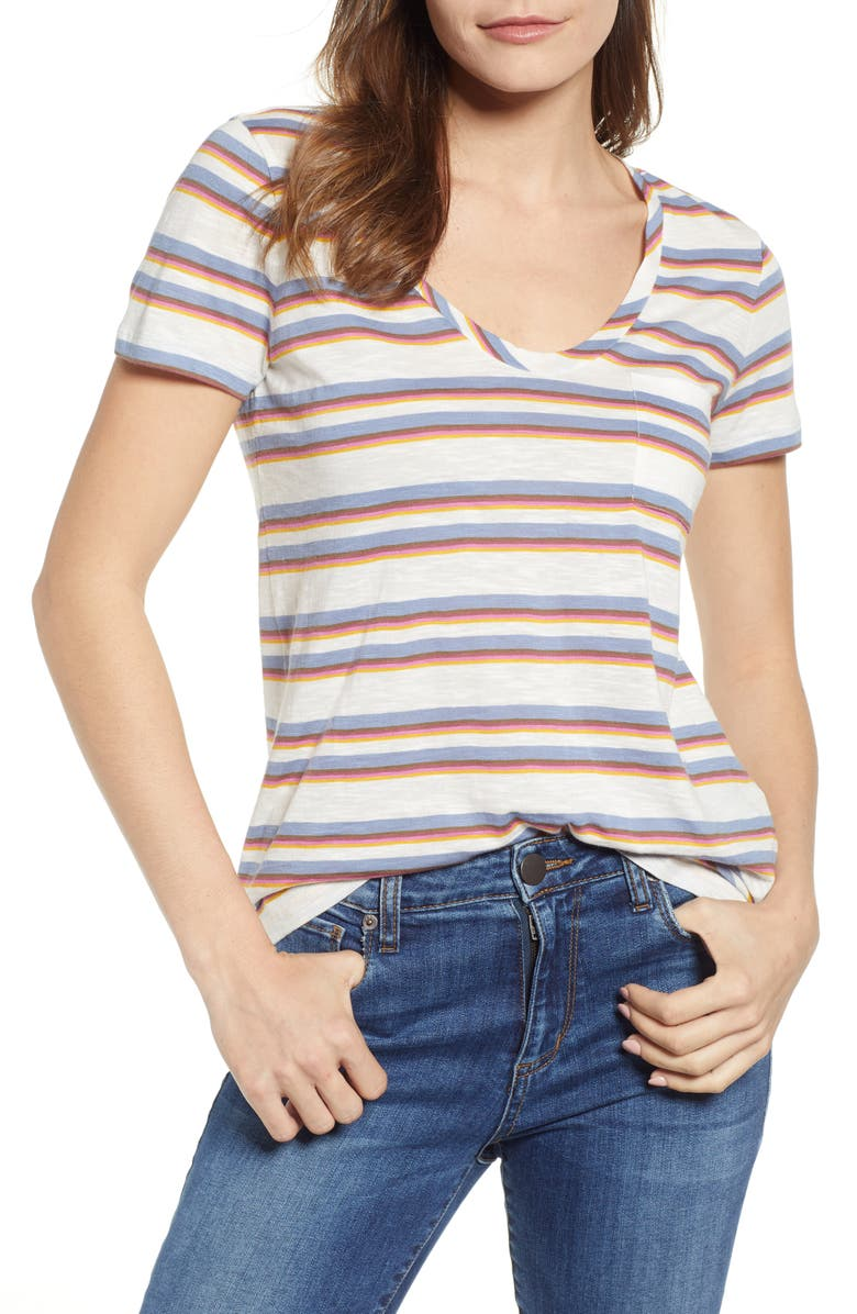 CASLON<SUP>®</SUP> Rounded V-Neck Tee, Main, color, IVORY- BLUE CARTER STRIPE
