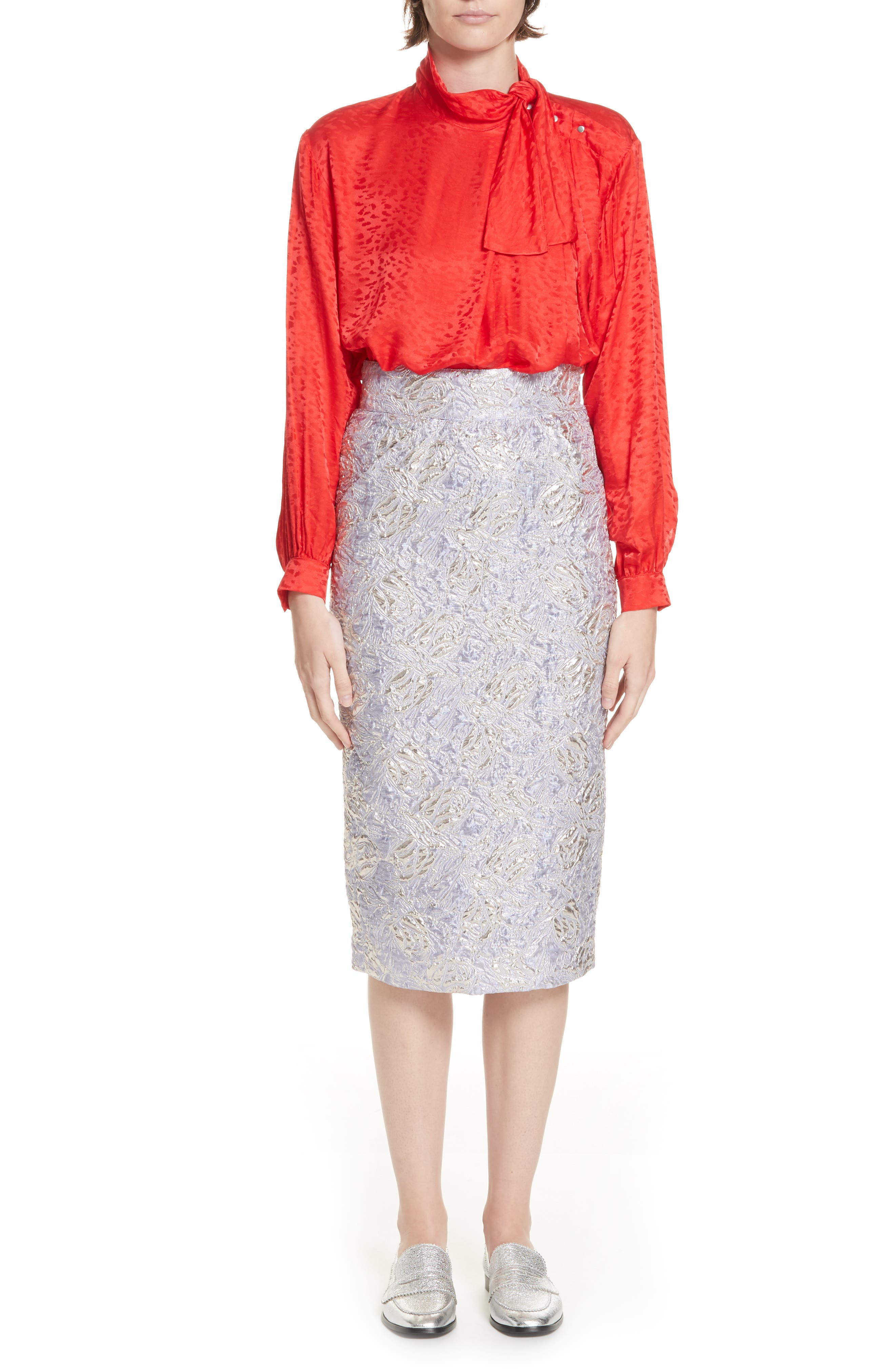 ,                             Lauren Brocade Pencil Skirt,                             Alternate thumbnail 7, color,                             LILAS