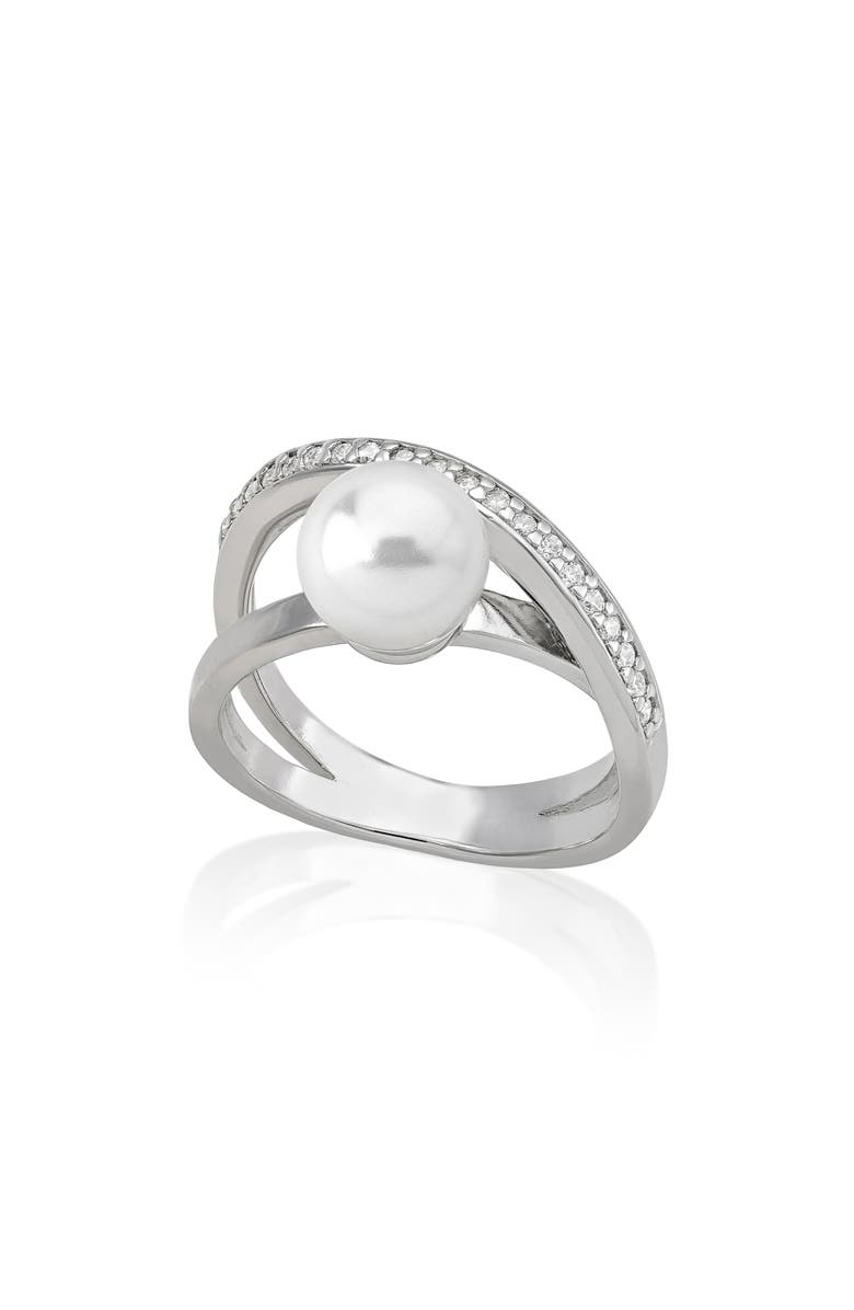 MAJORICA Simulated Pearl & Cubic Zirconia Ring, Main, color, 100