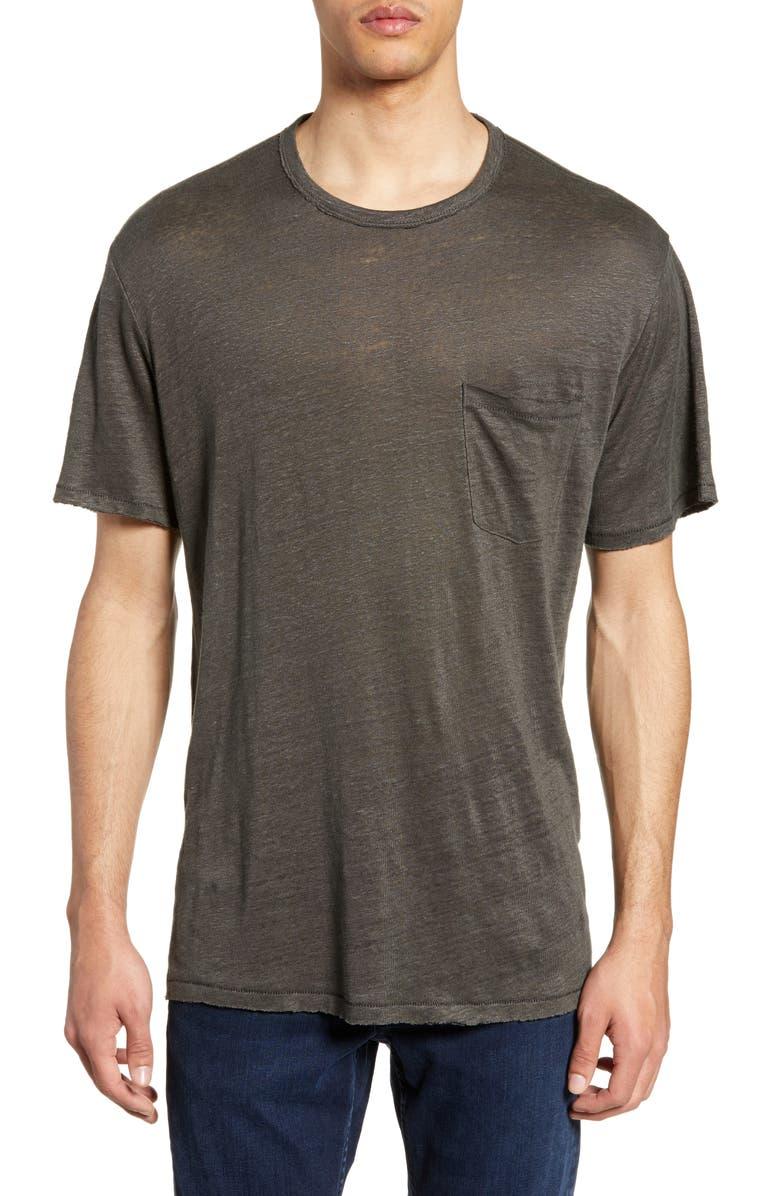 RAG & BONE Owen Linen Slim Fit Pocket T-Shirt, Main, color, DARK GREY