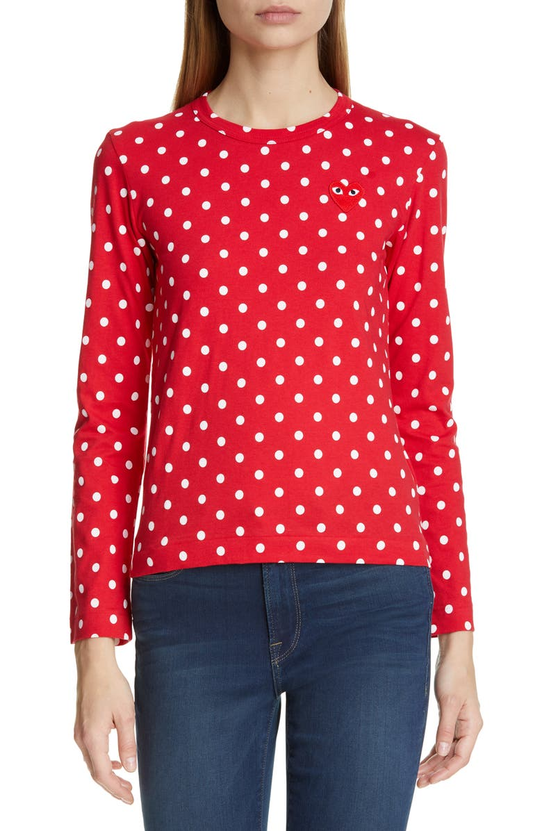 COMME DES GARÇONS PLAY Red Heart Polka Dot Tee, Main, color, RED/ WHITE