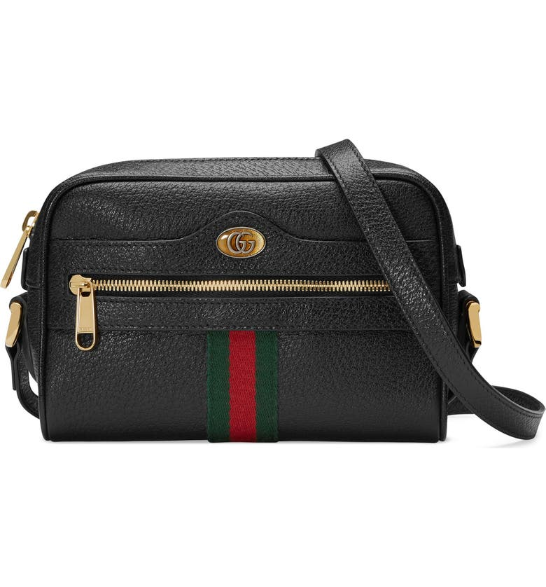 GUCCI Mini Ophidia Mini Leather Crossbody Bag, Main, color, NERO/ VERT RED VERT
