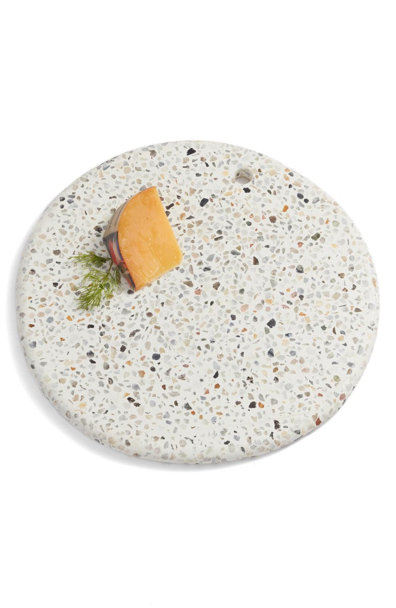 TREASURE & BOND Round Terrazzo Marble Serving Board, Main, color, WHITE