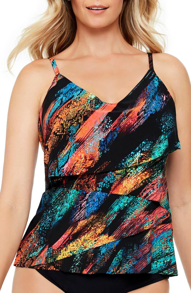 MAGICSUIT<SUP>®</SUP> Viper Chloe Tankini Top, Main, color, BLK/MULTI