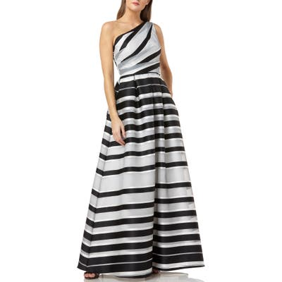 Carmen Marc Valvo Infusion Stripe One-Shoulder Ballgown, Black