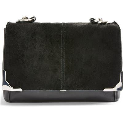 Topshop Lulu Suede & Faux Leather Shoulder Bag - Black