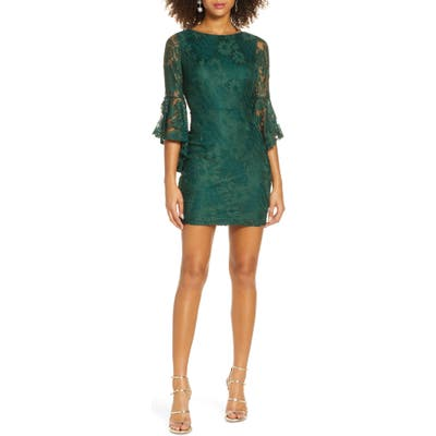 Lulus Allure Embroidered Lace Flounce Sleeve Minidress, Green