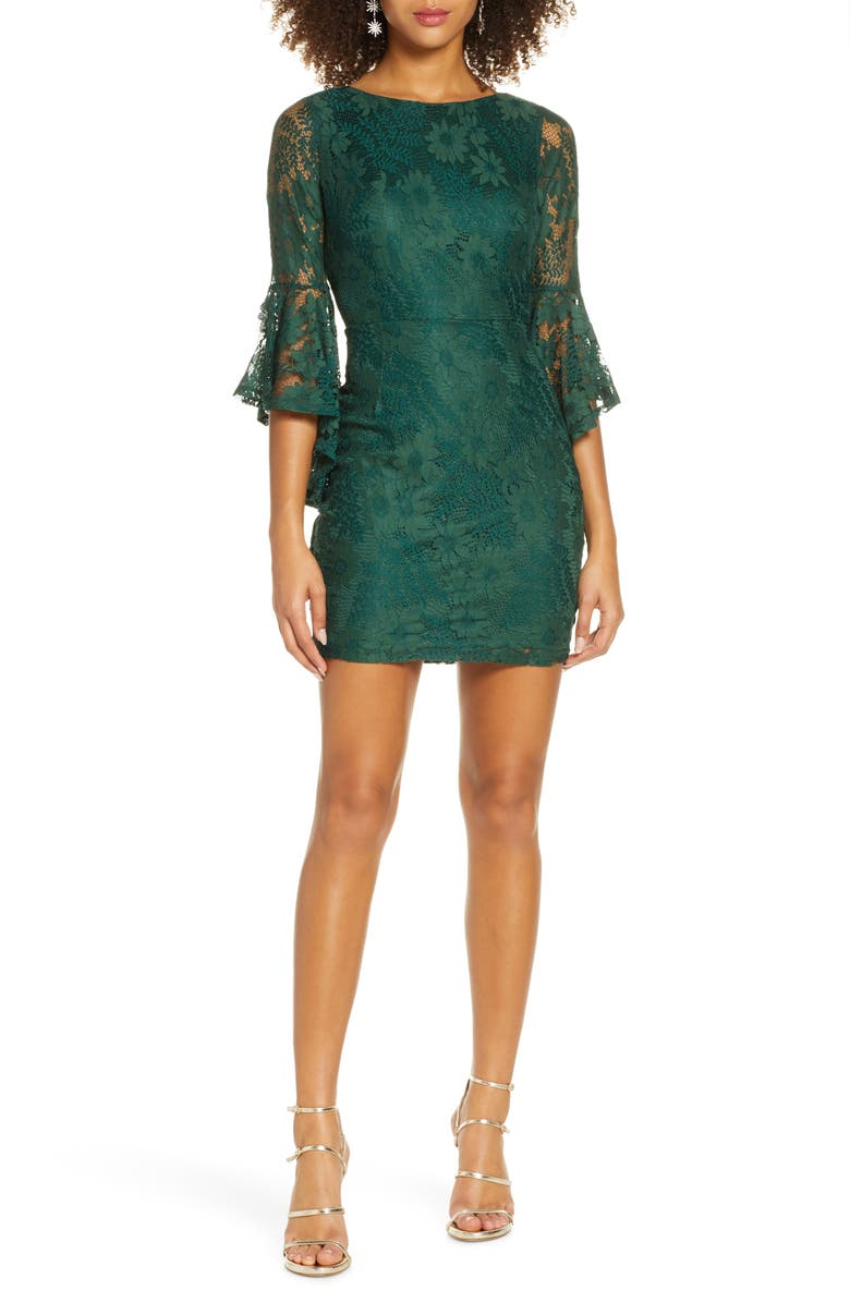 LULUS Allure Embroidered Lace Flounce Sleeve Minidress, Main, color, FOREST GREEN