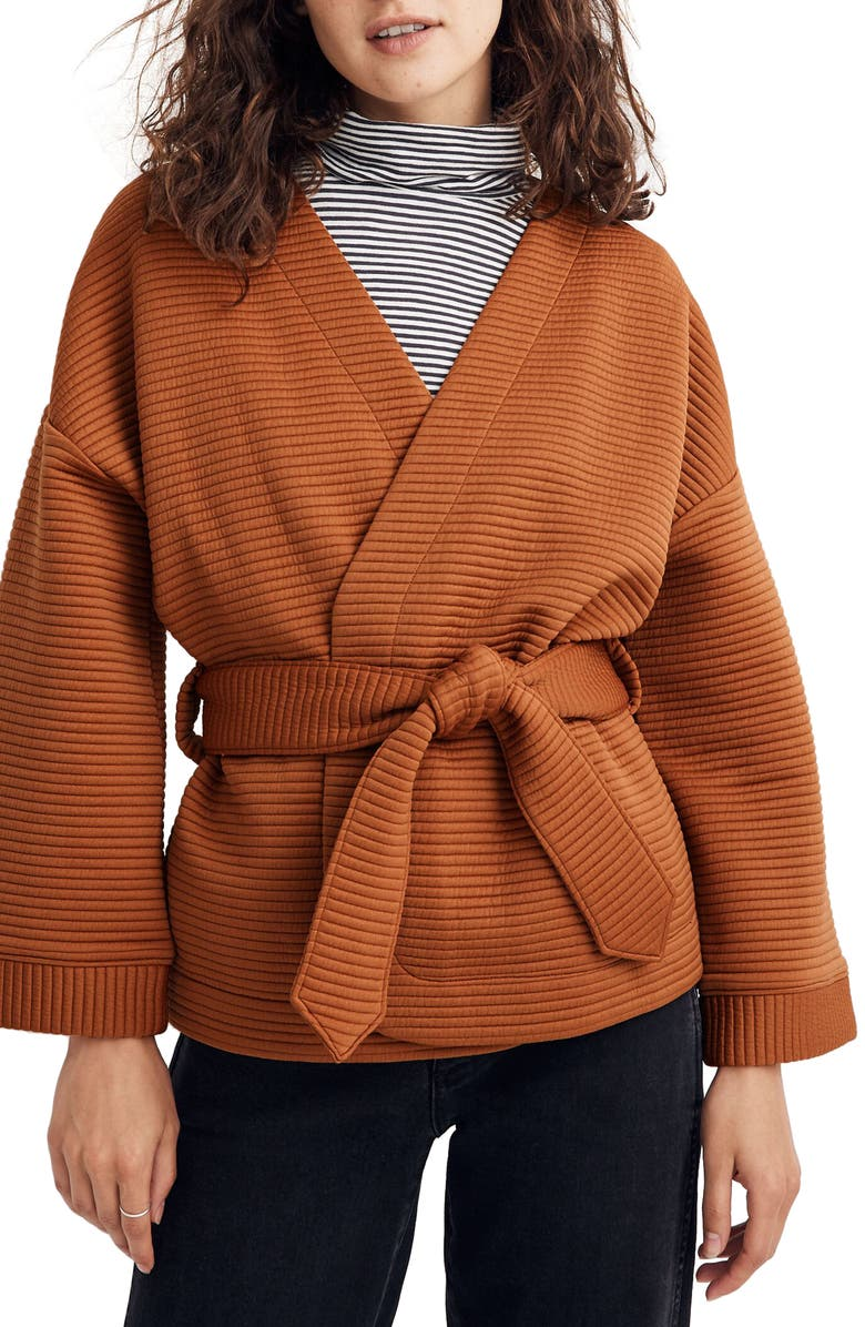 MADEWELL Texture & Thread Quilted Wrap Jacket, Main, color, GOLDEN PECAN
