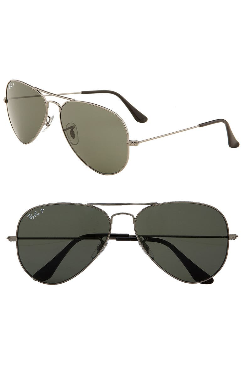 RAY-BAN Original 58mm Aviator Sunglasses, Main, color, LITE PEWTER