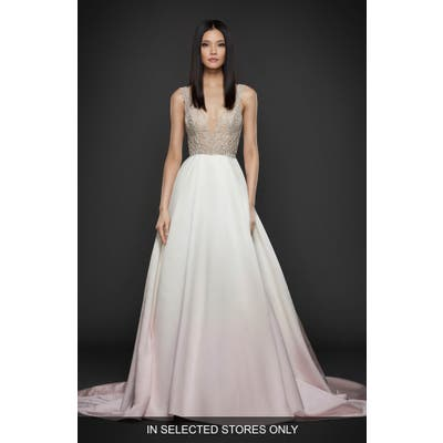 Lazaro Beaded Bodice Satin Ballgown, Size IN STORE ONLY - Pink