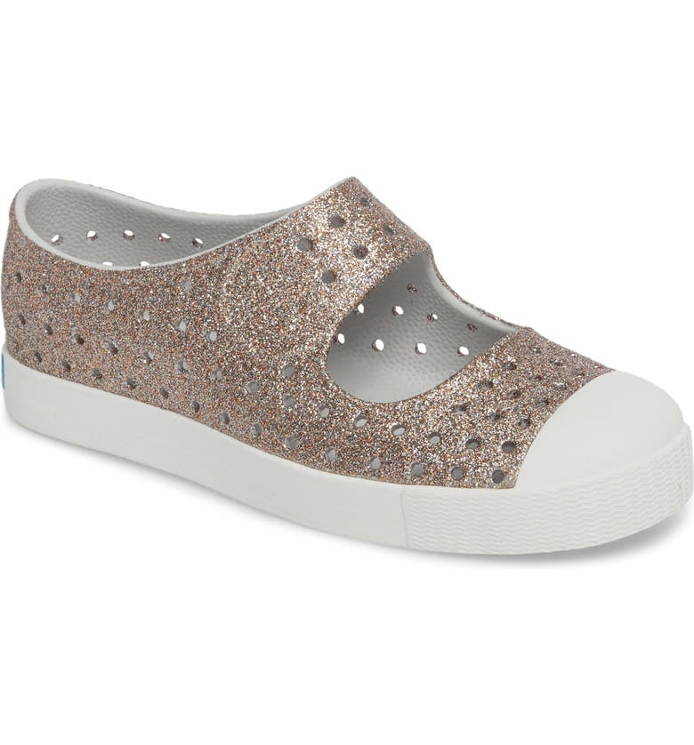 NATIVE SHOES Juniper Bling Glitter Perforated Vegan Mary Jane, Main, color, METALLIC BLING/ SHELL WHITE