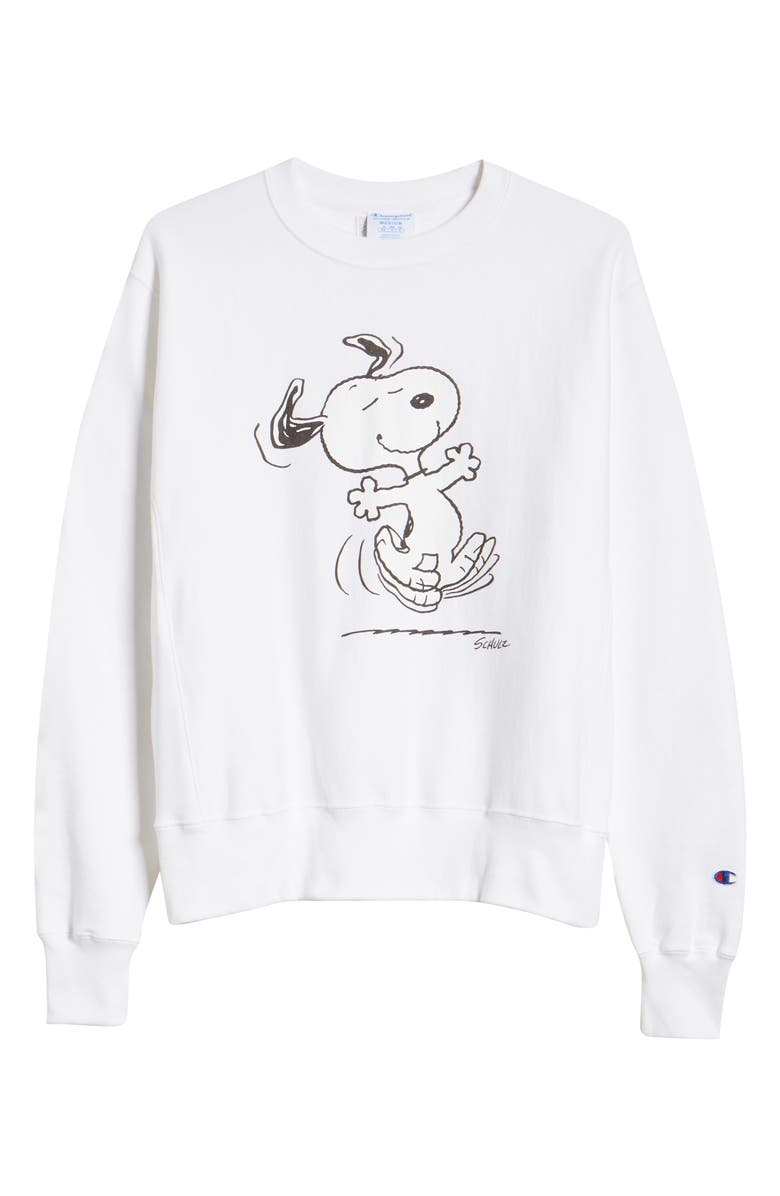 CHAMPION x Peanuts<sup>®</sup> Dancing Snoopy Graphic Sweatshirt, Main, color, WHITE