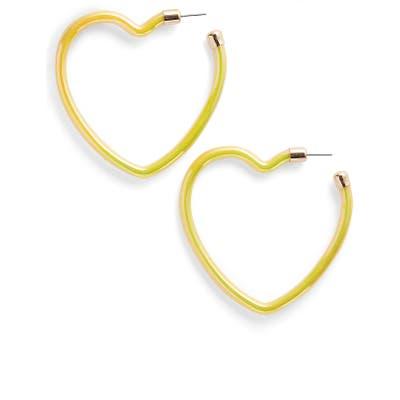 Bp. Iridescent Heart Hoop Earrings