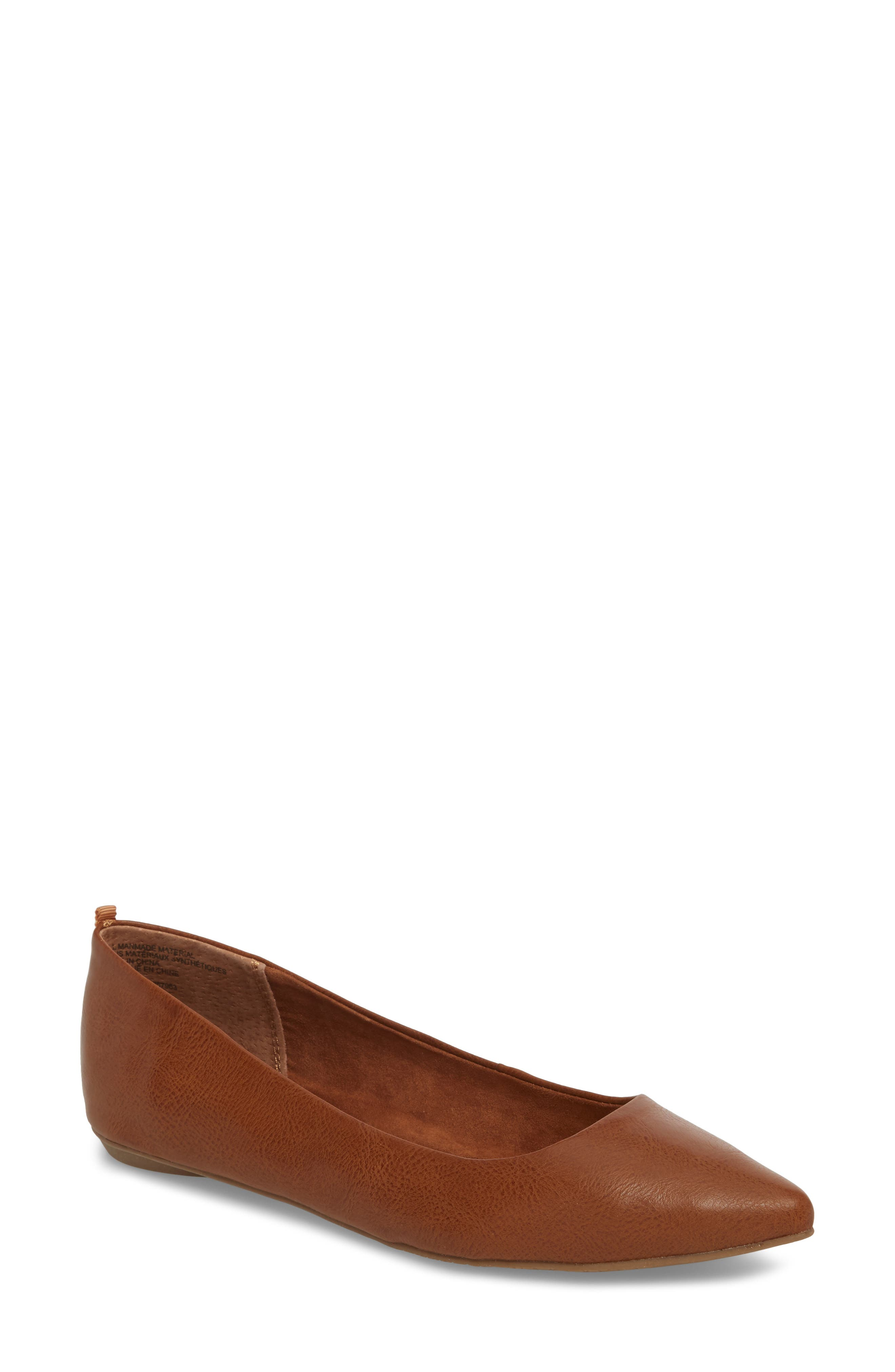 Sasha Flat, Main, color, COGNAC SMOOTH FAUX LEATHER