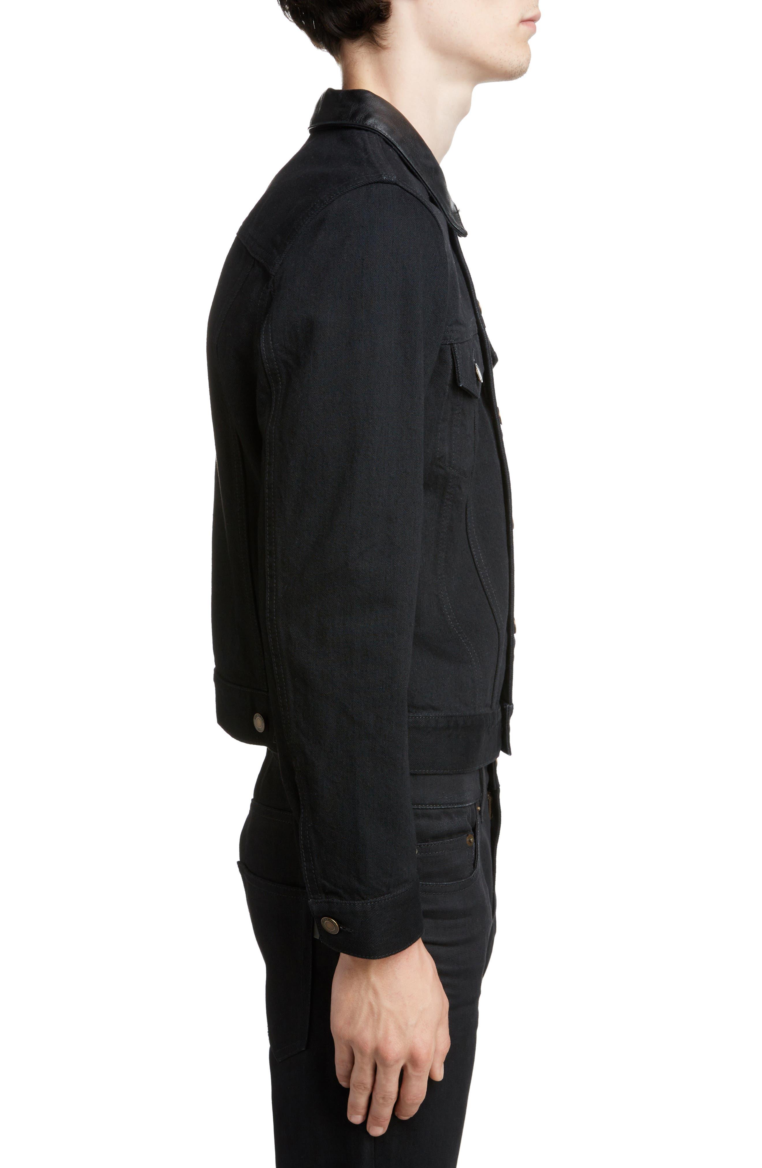 ,                             Fitted Denim Jacket,                             Alternate thumbnail 3, color,                             WORN BLACK