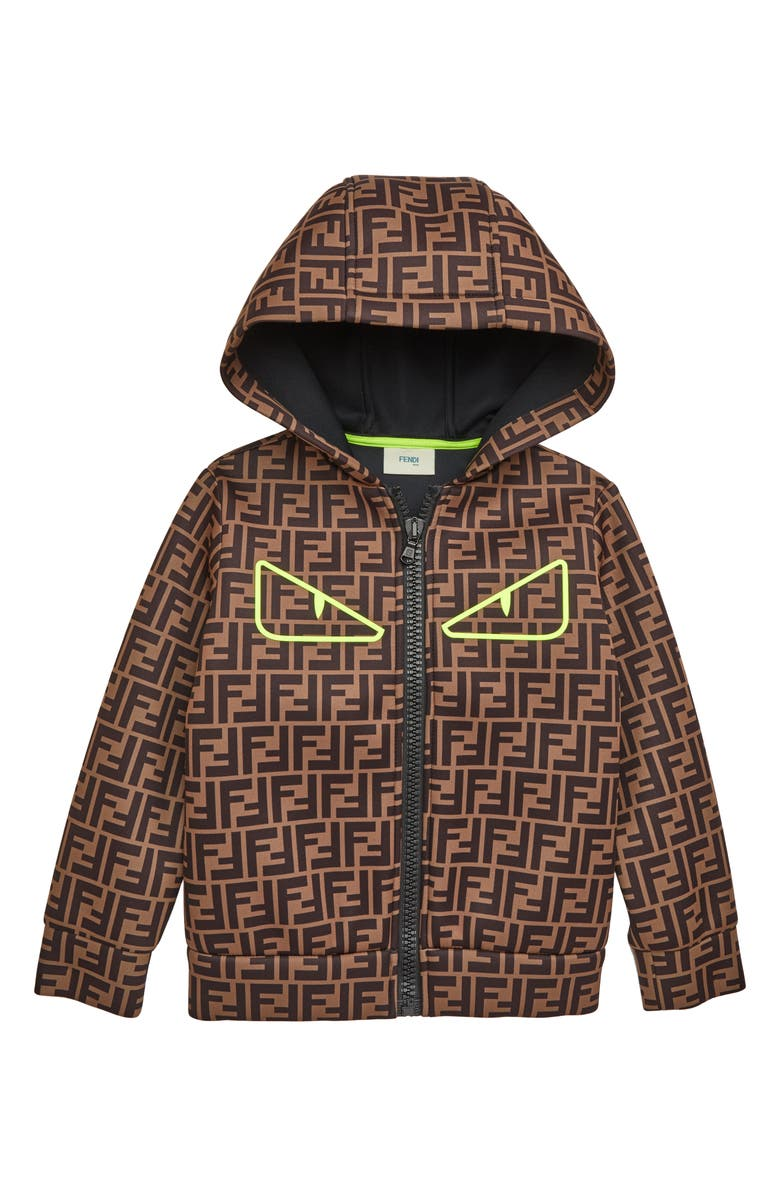 FENDI Logo Zip Hoodie, Main, color, BROWN