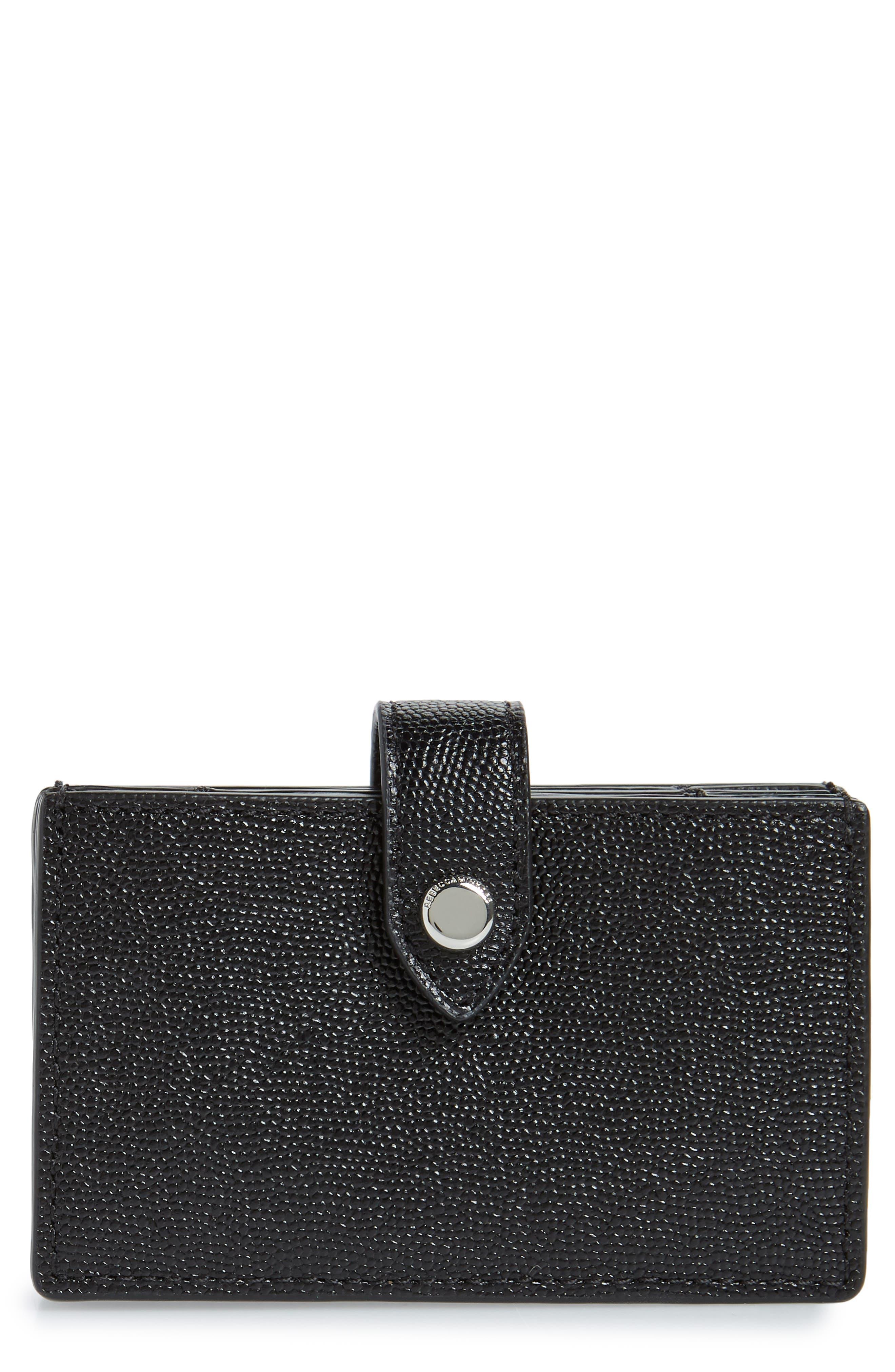 ,                             Accordion Leather Card Case,                             Main thumbnail 1, color,                             BLACK