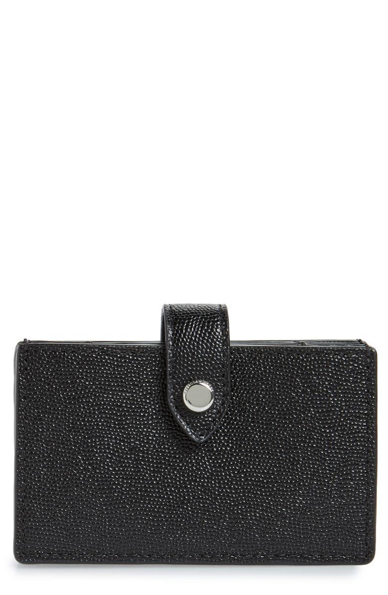 REBECCA MINKOFF Accordion Leather Card Case, Main, color, 001