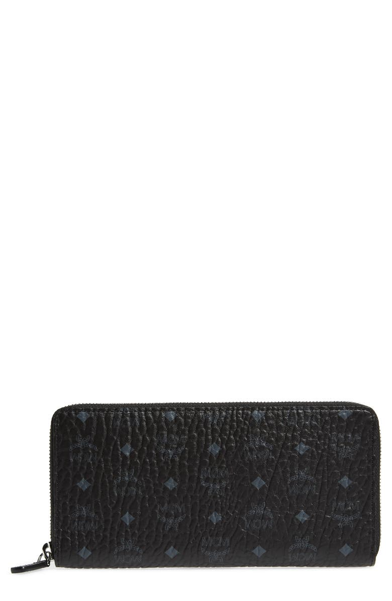 MCM Visetos Original Zip Around Coated Canvas Wallet, Main, color, BLACK