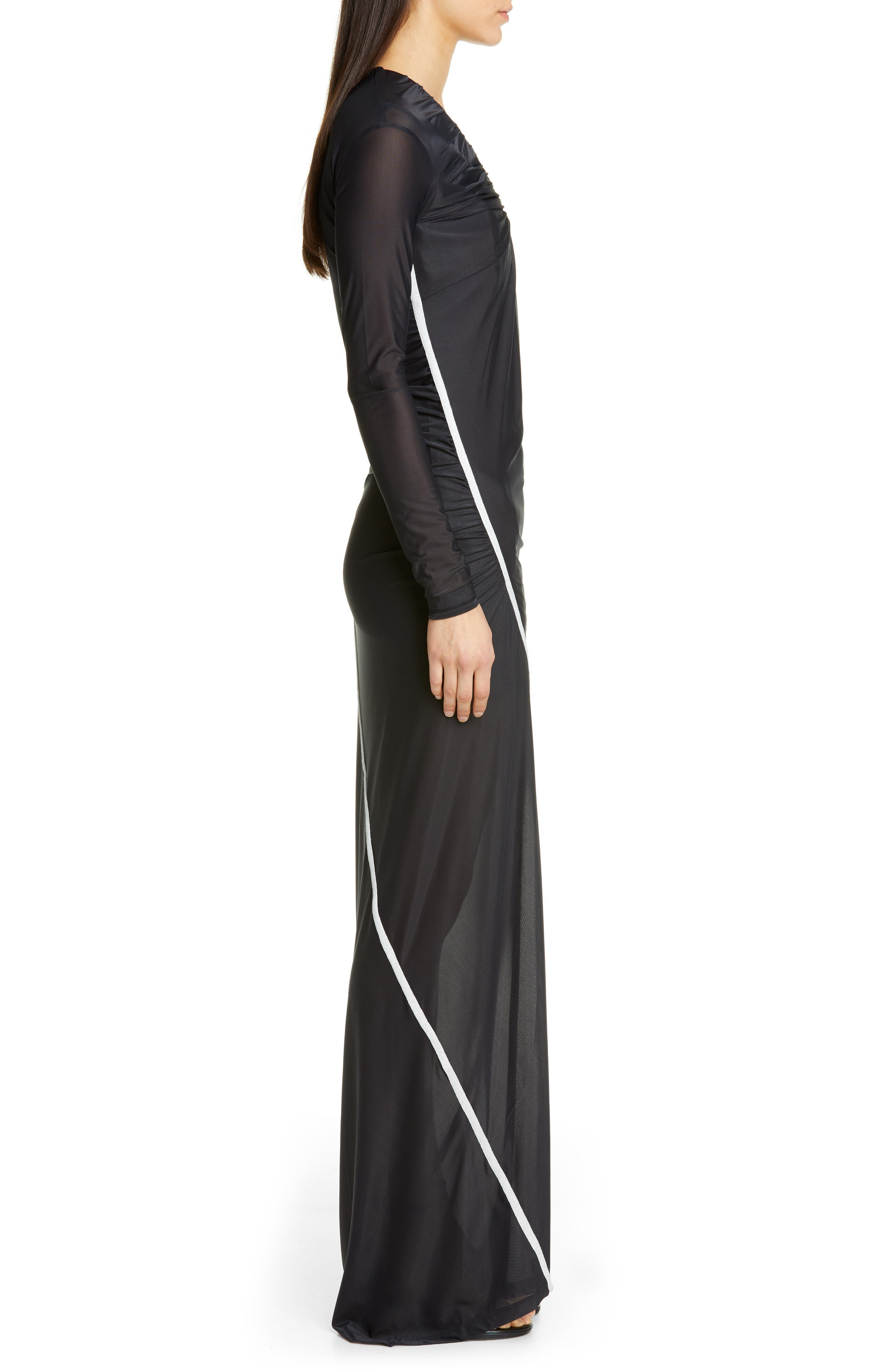 ,                             Fitted Convertible Long Sleeve Dress,                             Alternate thumbnail 4, color,                             BLACK