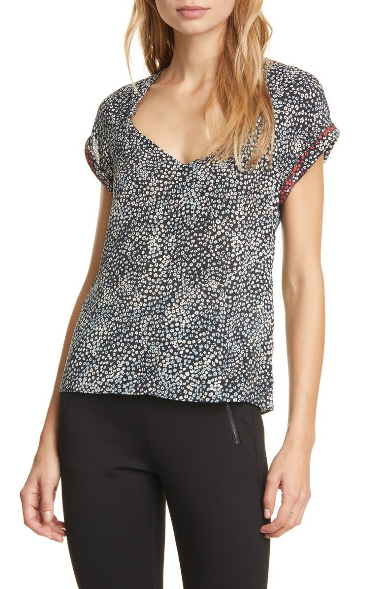 RAG & BONE Danise Leopard Print Silk Top, Main, color, BLACK MULTI FLORAL