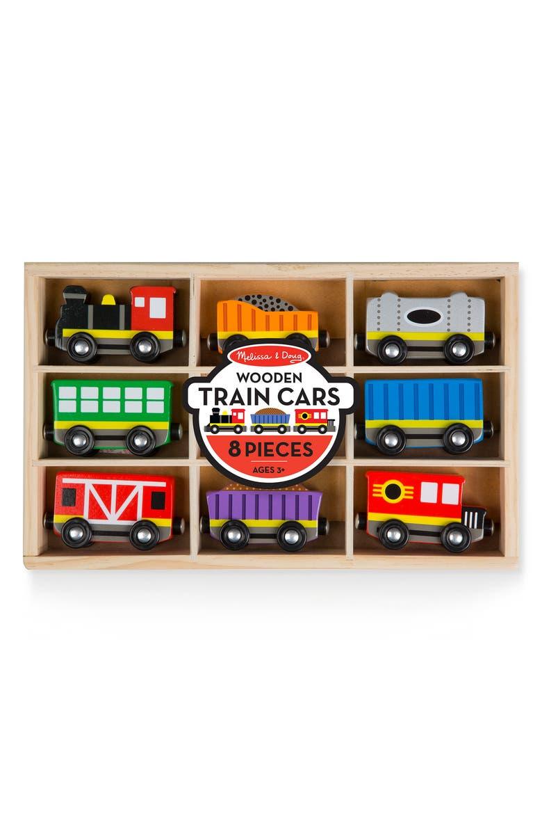 MELISSA AND DOUG Melissa & Doug 8-Piece Wooden Train Cars Play Set, Main, color, MULTI