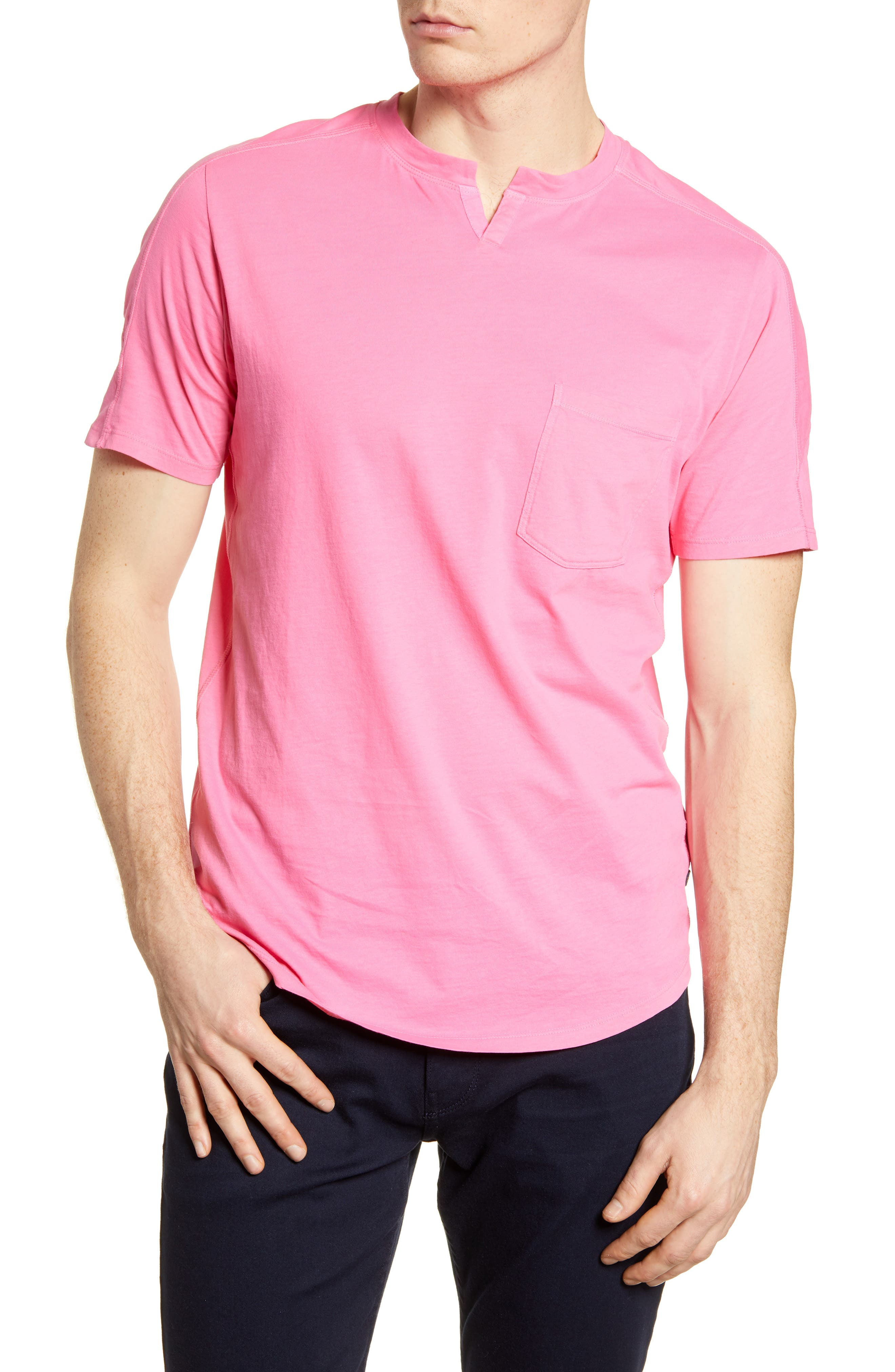 A notched front and yoked back update the look of a T-shirt made from neon-colored cotton so it never gets lost in the crowd. Style Name: Good Man Brand Notch Crew Cotton T-Shirt. Style Number: 5653672. Available in stores.