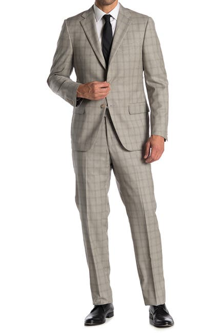 Image of Hickey Freeman Grey Windowpane Two Button Notch Lapel Suit