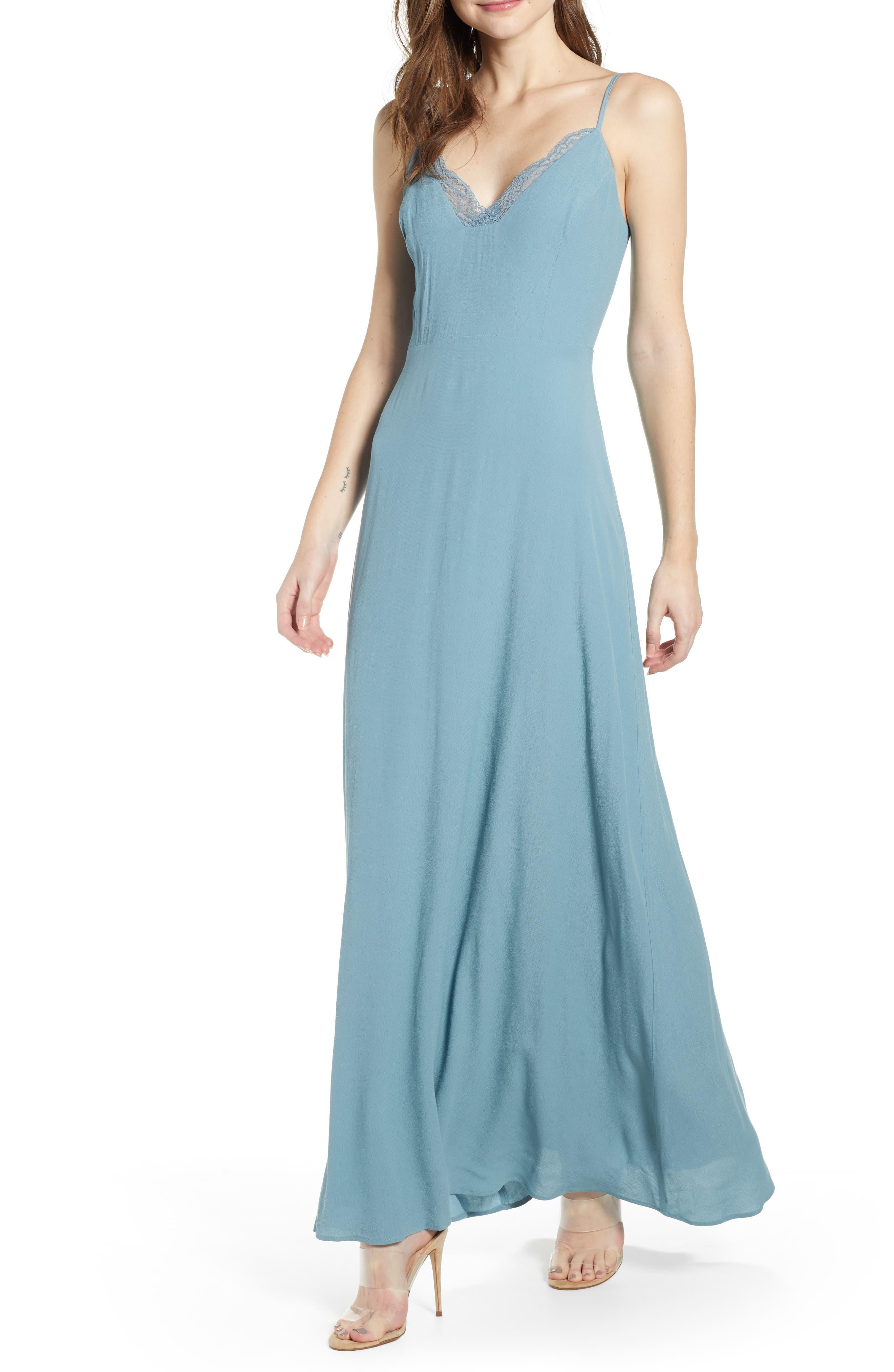 Leith Lace Trim Maxi Dress, Blue