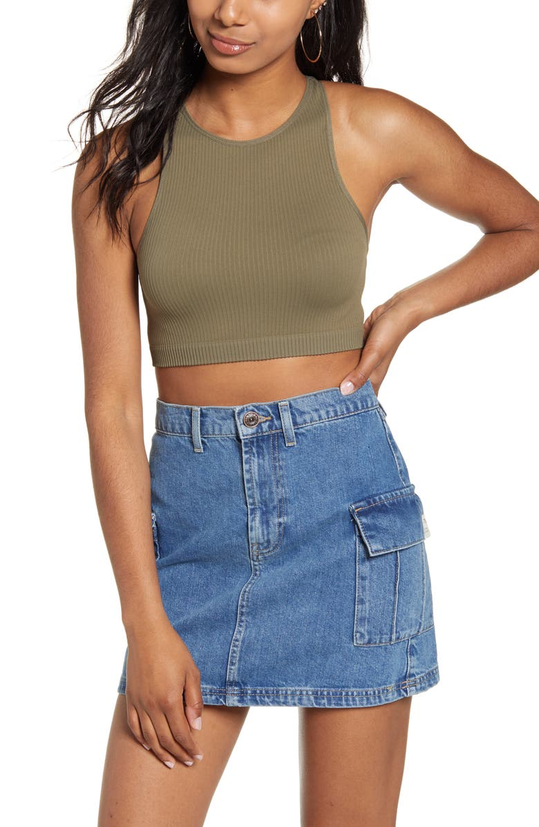 BDG Urban Outfitters Racerback Crop Tank, Main, color, GREEN