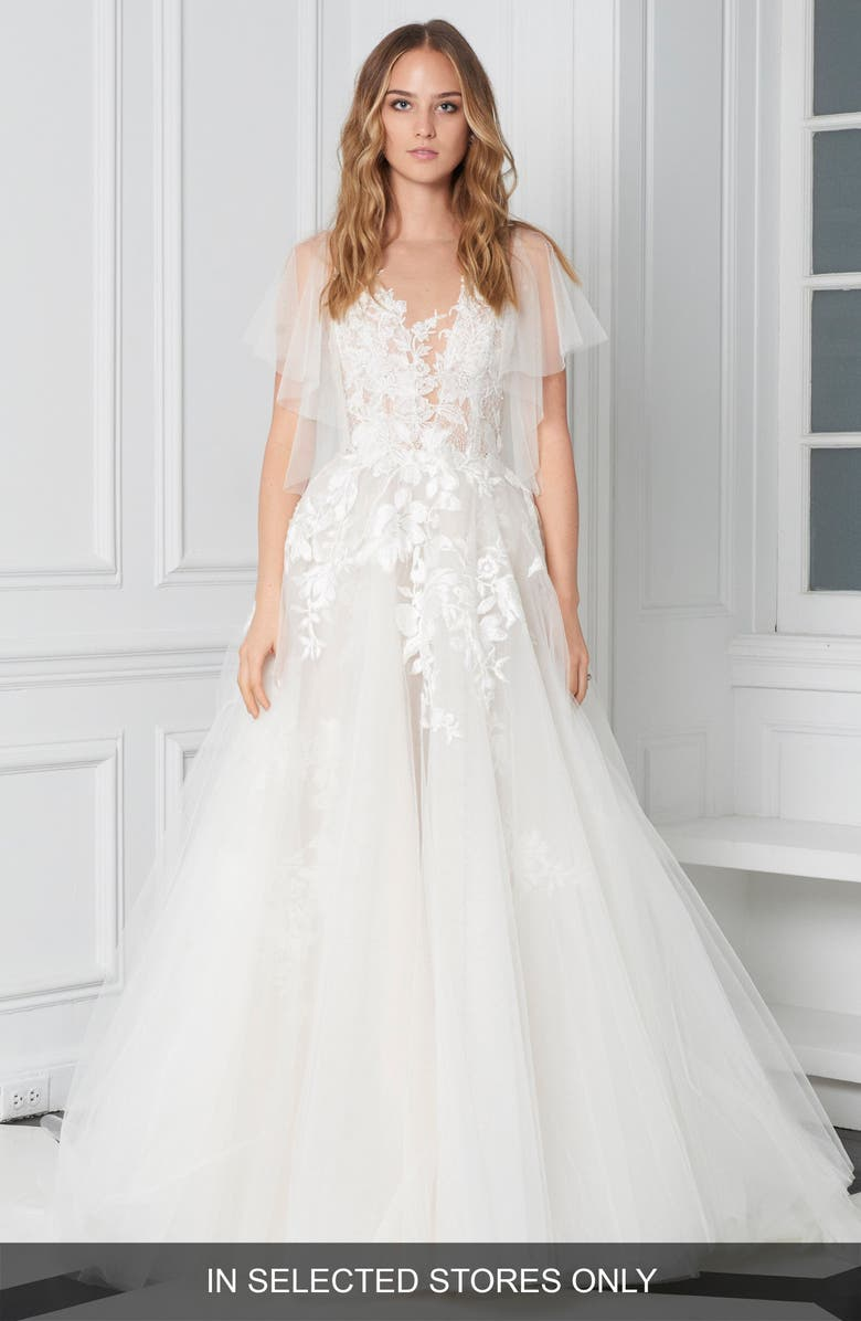 BLISS MONIQUE LHUILLIER Flutter Sleeve Embroidered Ballgown, Main, color, SILK WHITE/ LATTE