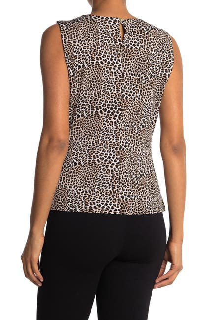 Image of Calvin Klein Leopard Printed Sleeveless Blouse